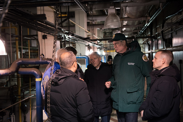 Mayor Bill de Blasio during a visit to NYCHA's Woodside Houses to check on a repaired boiler last year (   Mayor's Flickr   )