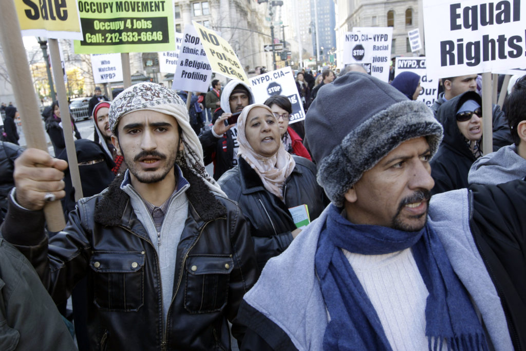 Hundreds of Muslim New Yorkers gather to pray and protest a decade of NYPD spying on Muslim communities. AP Photo/Mary Altaffer