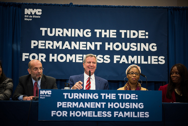 """As part of his """"Turning the Tide"""" initiative, Mayor de Blasio has said the city would partner with nonprofit developers to buy cluster site housing and turn them into permanently affordable units (NYCmayorsoffice/Flickr)"""