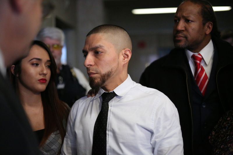 Joseph Franco is seen leaving court after his arraignment in State Supreme Court on Wednesday in New York. (Alec Tabak/for New York Daily News)