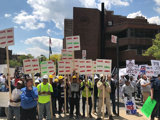 In May, building contractors showed up to protest a hearing on rent reform at Medger Evers College. (Elizabeth Kim / Gothamist)