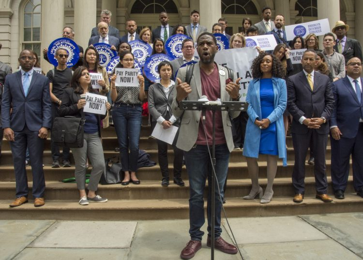New York City Public Advocate Jumaane Williams speaks Thursday on the steps of New York City Hall during a rally calling for city government to increase funding to pay public defenders. Photo: Spencer Lee Gallop