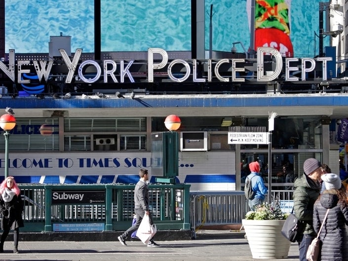 An NYPD station is seen in Times Square. (Photo by David Allen/Patch)