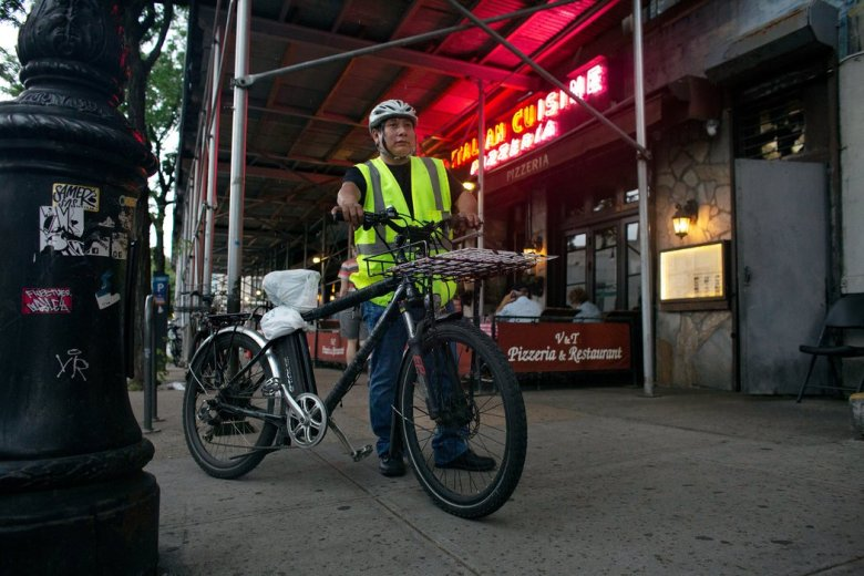 The Police Department has confiscated Natalio Maldonado's electric bike twice, totaling $1,000 in fines that many say workers shouldn't have to pay.JasonJ.Armond/NYTInstitute
