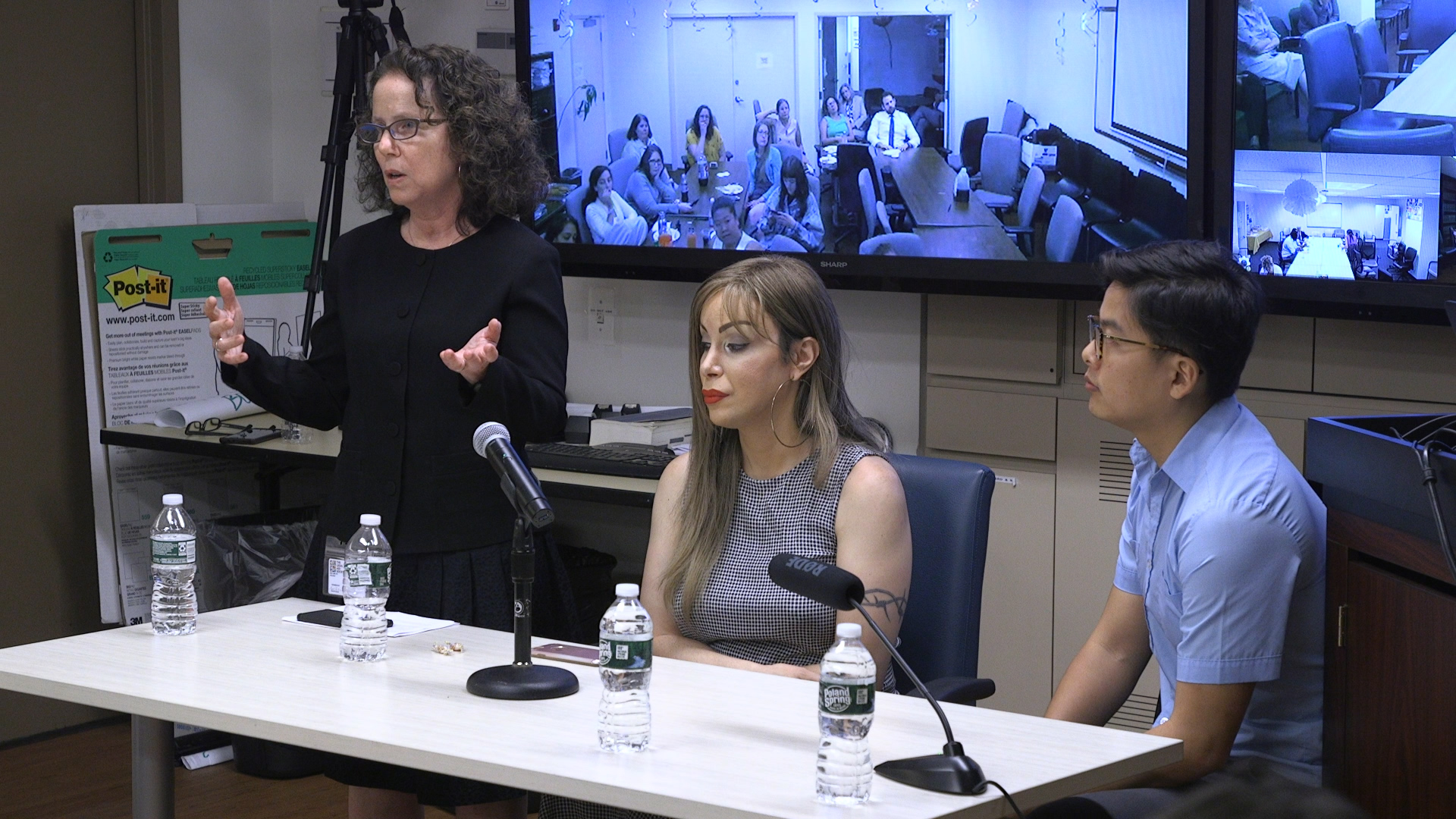 Commemorating the 50th Anniversary of Stonewall, (pictured left to right) is Janet Sabel, Attorney-in-Chief, Stefanie Rivera of The Sylvia Rivera Law Project, and Jason Wu, a Staff Attorney from the Civil Practice.