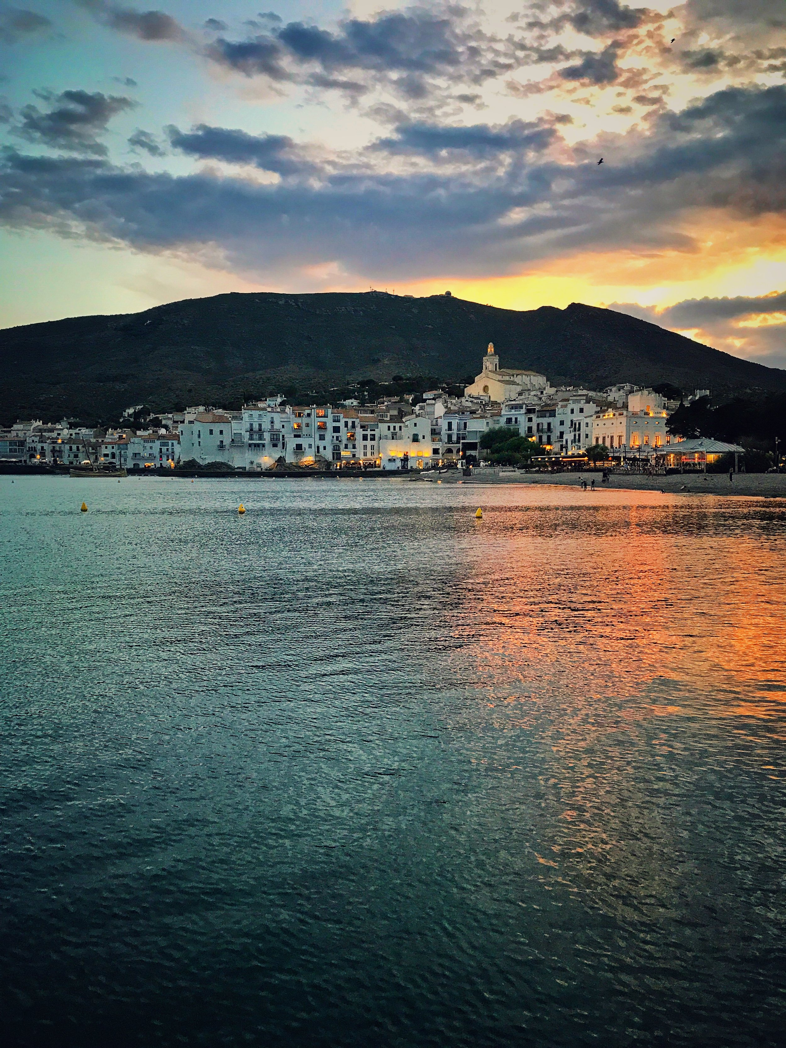 Cadaques at sunset as seen from a favorite place to swim.