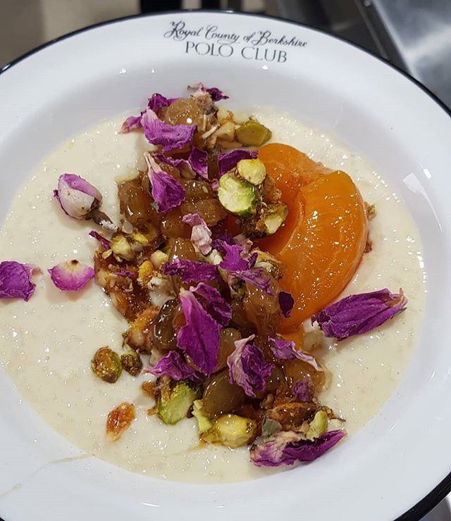 Kheer (Asian rice pudding) with apricot, sultanas, jaggery, candied pistachios and rose petals. Absolute sweet heaven. Made as part of my taster menu with @wefifo_ @rcb.poloclub yesterday, went down brilliantly with all the lovely guests! #delicious #delicious #sweet #dessert #pudding #kheer #rose #roses #apricot #sultanas #feedfeed @thefeedfeed #thekitchn @thekitchn