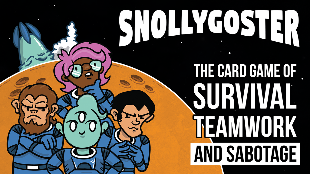 Snollygoster  - Snollygoster is a 2-4 player space themed card game of survival, teamwork, and a little bit of sabotage. You and your awful teammates are stranded on an alien planet and need to escape before food runs out. Secretly, though, everyone is carrying out hidden agendas that encourage teamwork... and treachery. Turn after turn, tensions rise as the food supply shrinks and distrust grows. Team players survive. Snollygosters win.