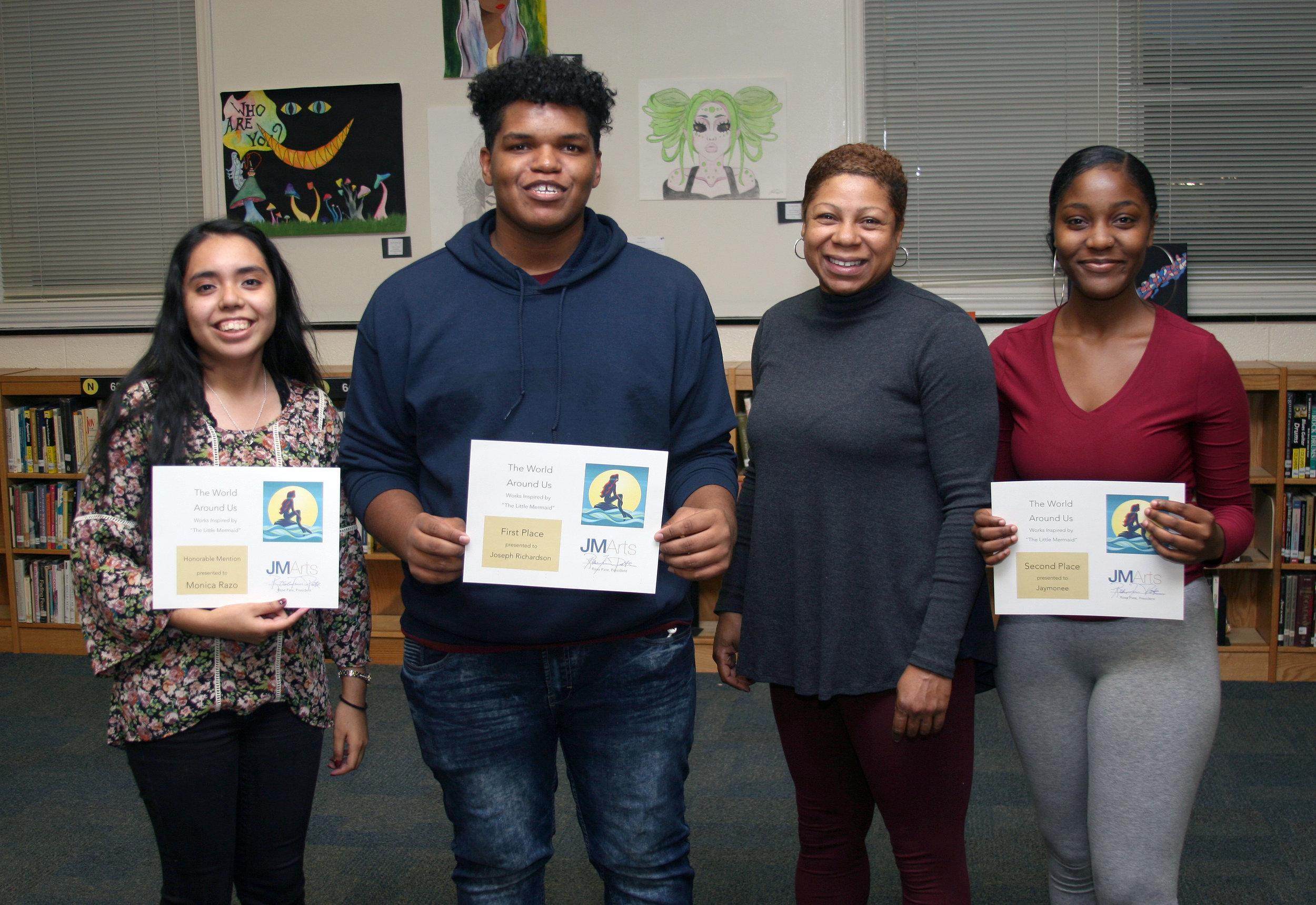 "Award recipients in ""The World Around You"" art show were, from left, Monica Razo, Joseph Richardson, teacher Rahma Mateen-Mason and Jaymonee."