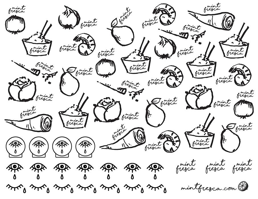 Kimchi,  Brujita Triste  + Mint Fresca temporary tattoo graphics!