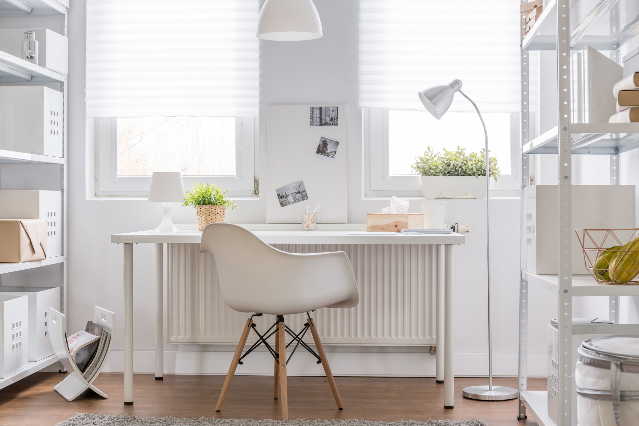 Light, bright, and white. Perfect home office work space.