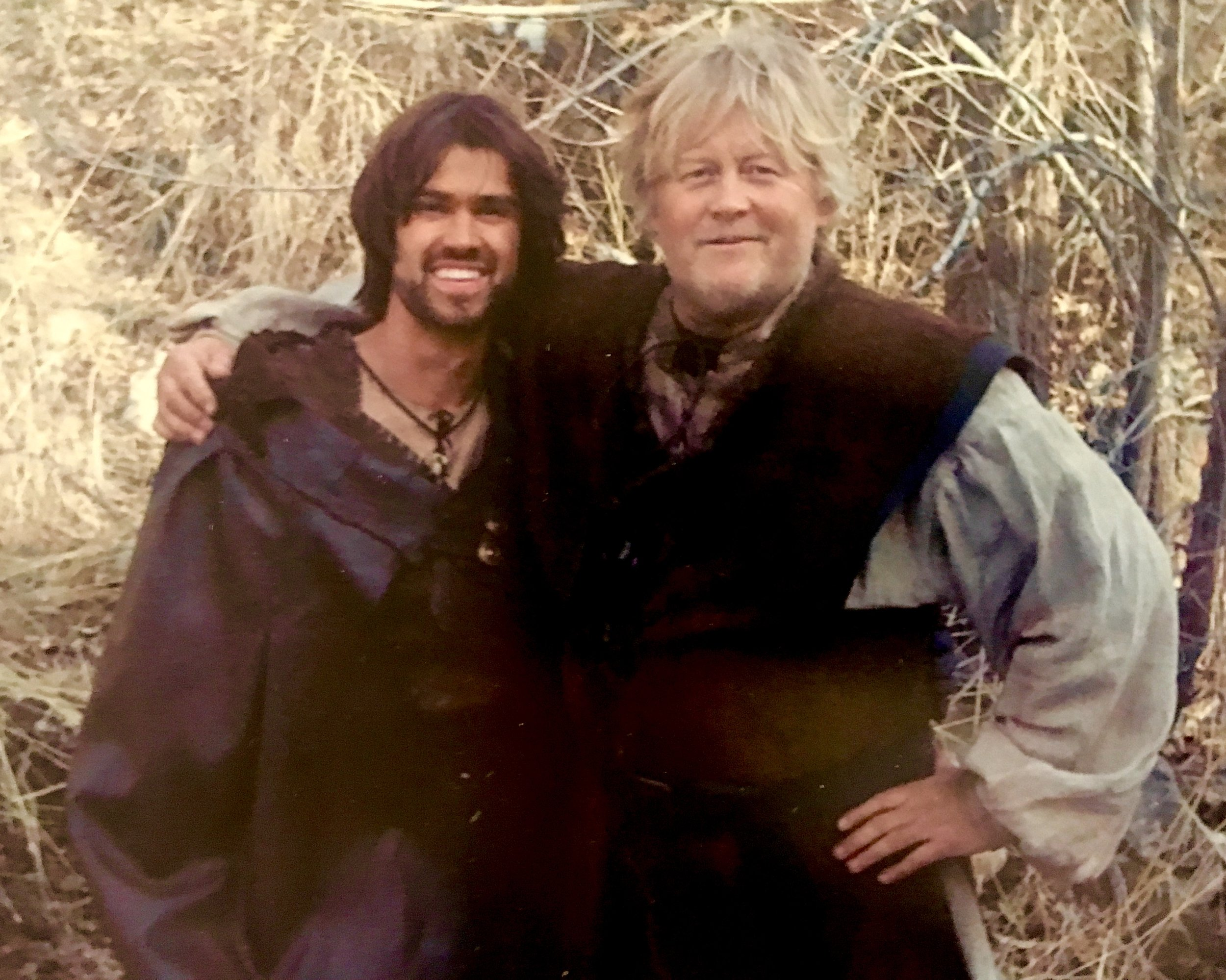 Actor Corey Sevier and Writer, Producer McKay Daines on the set of Age of the Dragons