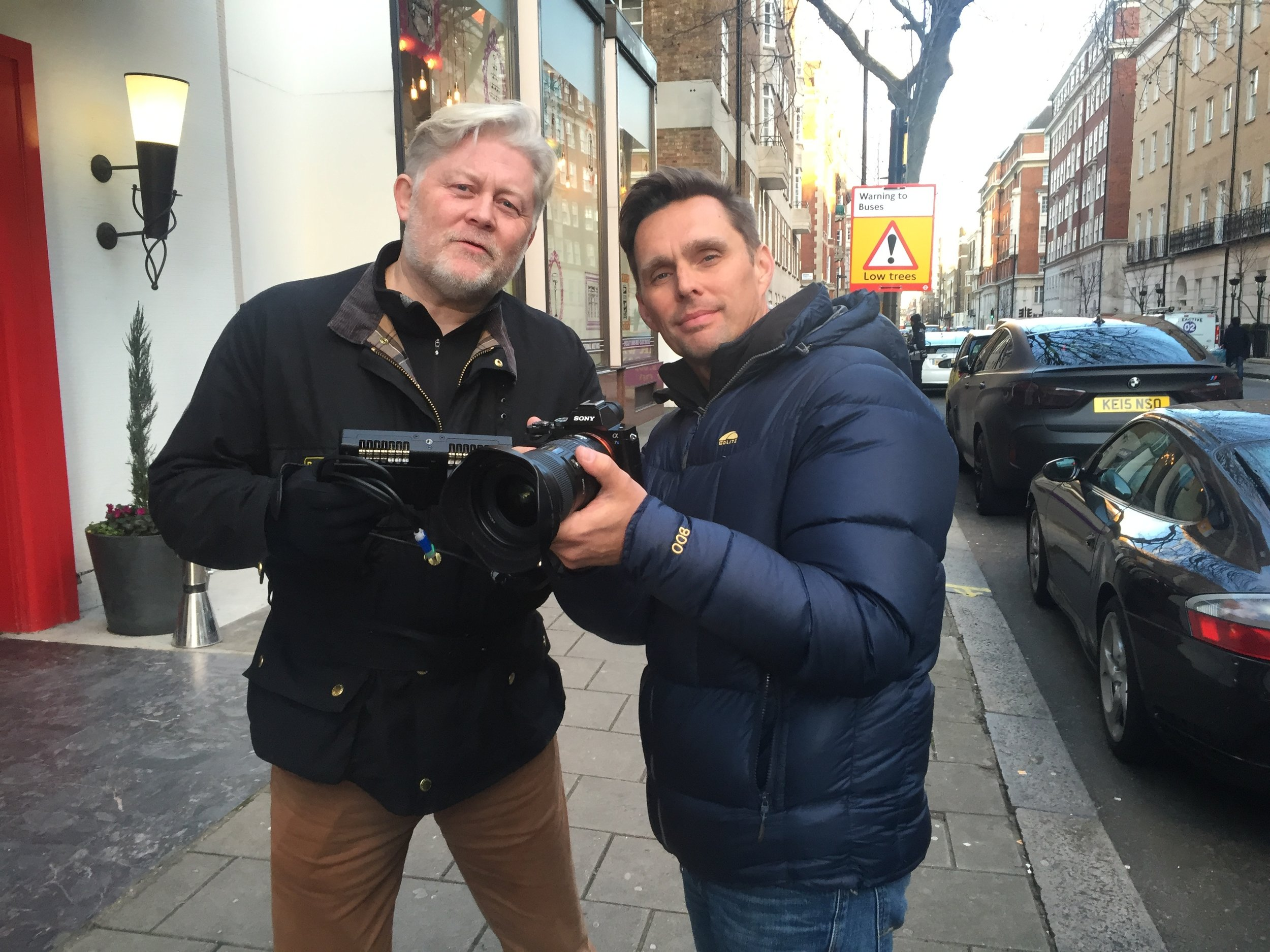 McKay Daines and Ryan Little filming Shadow Wolves on the streets of London