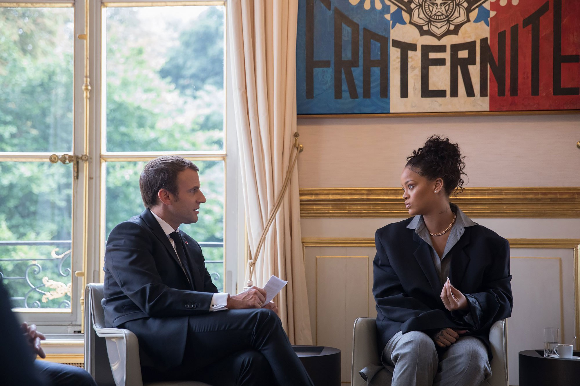 Rihanna and French President, Emmanuel Macron (Via:  people.com )