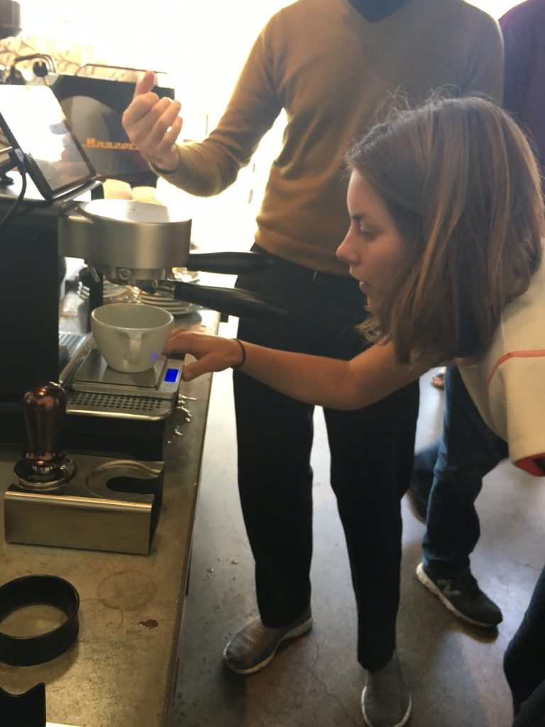 June Haupts, one of my favorite baristas, and owner of Welcome Coffee Cart in Santa Barbara, pulls a shot on the DE1+.
