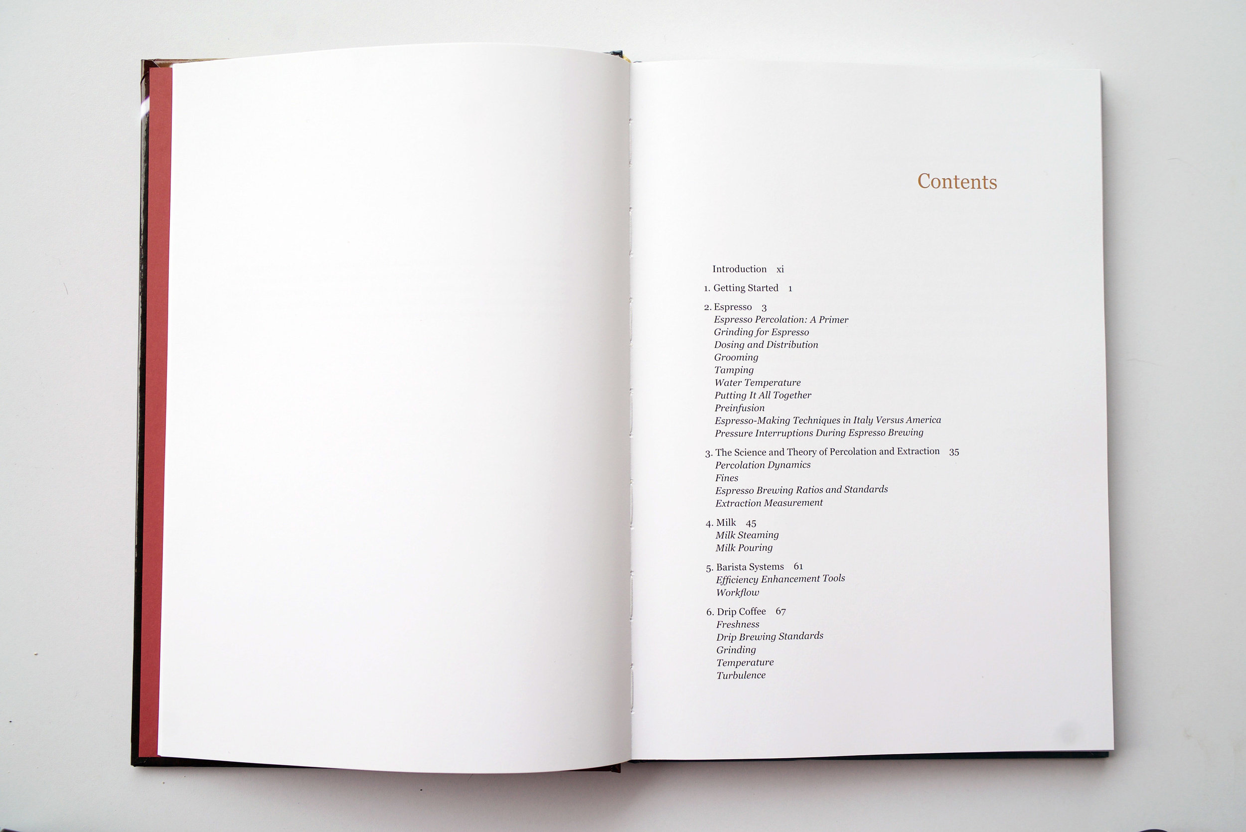 The Professional Barista's Handbook Table of Contents