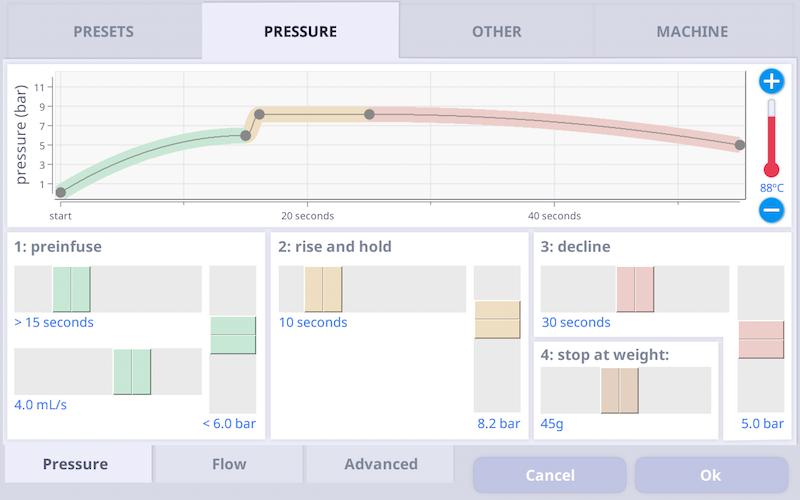 Pressure mode recipe screen