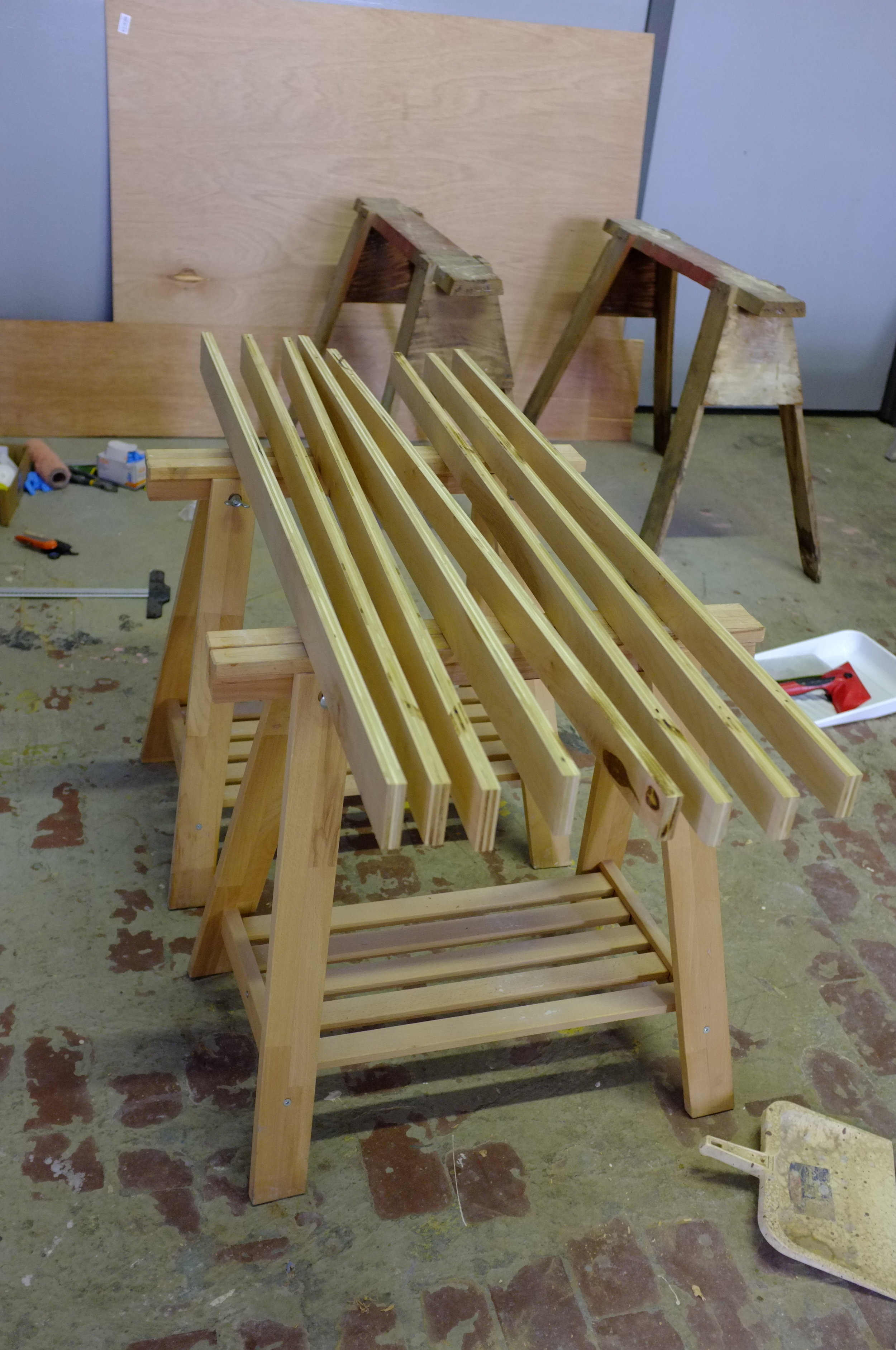 Here are boards cut for a still life stand. Easels and drawing horses to come.