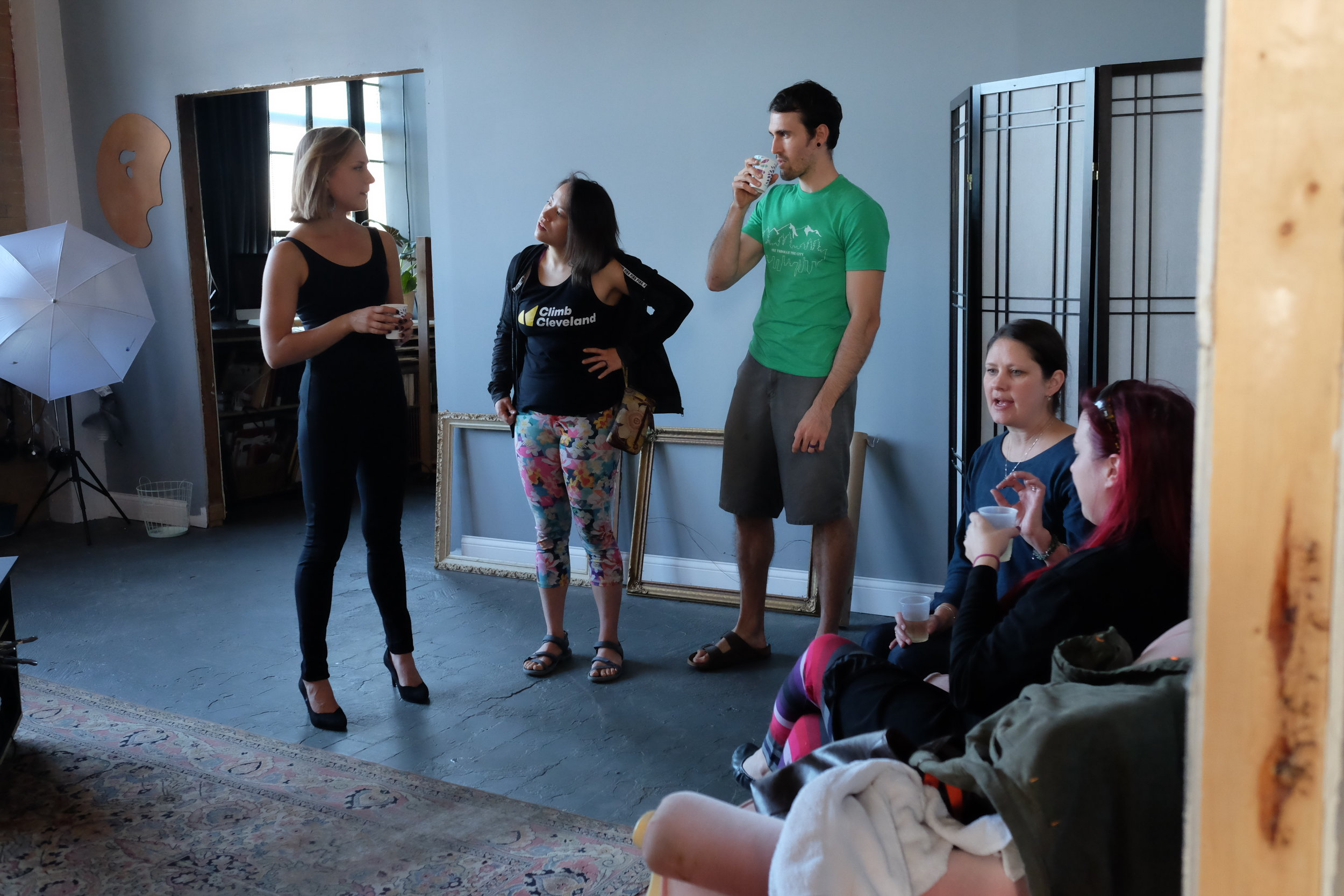 Becca, Laura, Isaac, Lisa and Britt in the atelier.
