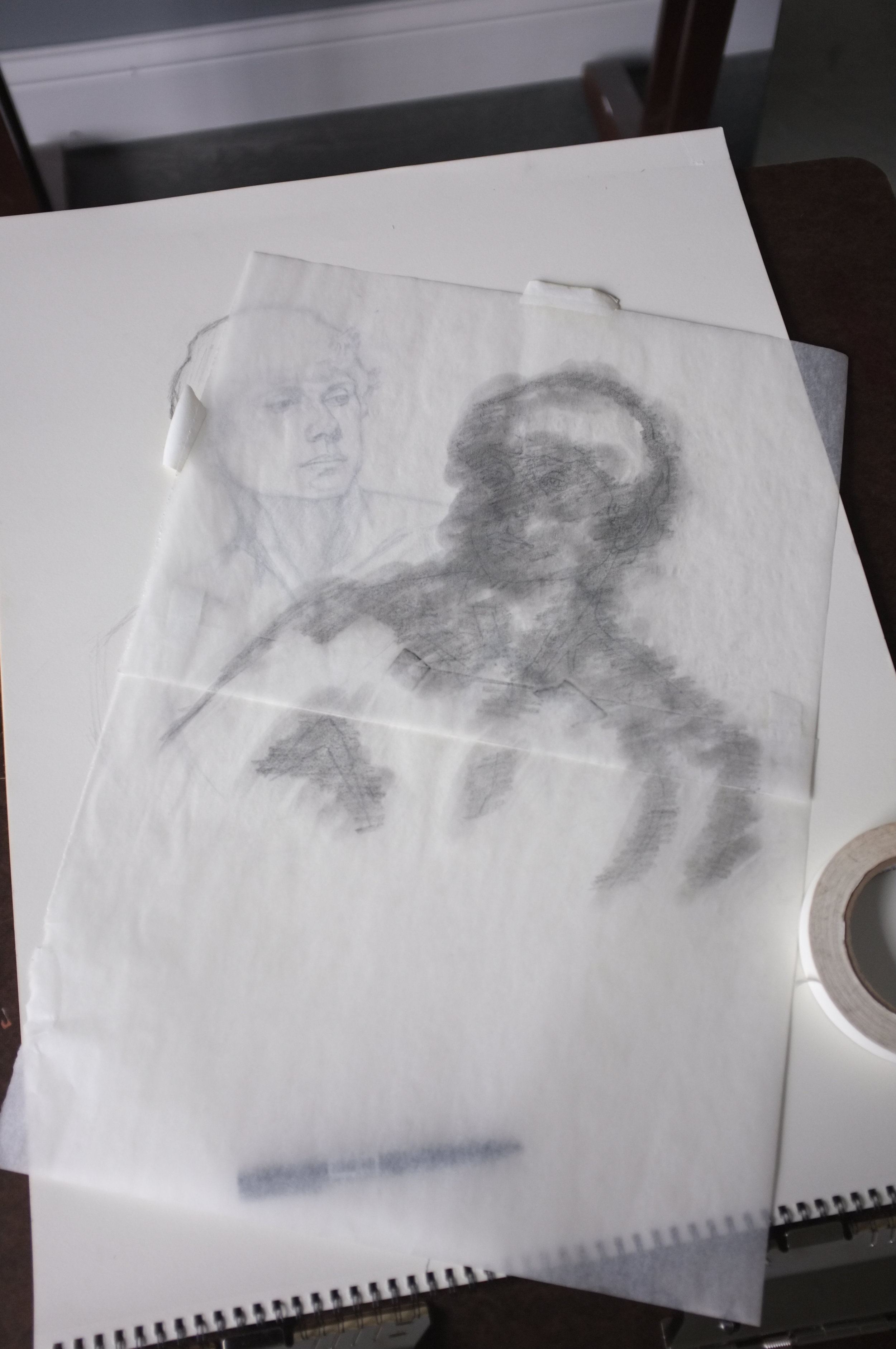 And then covered the back of the traced drawing with graphite from a 6B pencil.