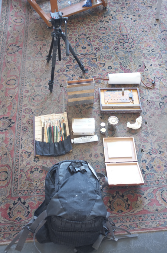 Here is my plein air painting kit. My goal this season is to really slim it down. At the moment, it is still a rather heavy amount of gear. The numbers are a little hard to see but this is what I have-  1. Manfrotto Tripod- this model and make is heavy, but in this case weight can be a benefit. It is not likely to tip or blow over in windy conditions.  2. 8x10 Panel Box- I made this box out of readily accessible materials. It is a good way to carry my panels and to pack out wet panels after painting.  3. Paper towels on a Bungy Cord- I like Viva paper towels. The bungy cord lets me hang the paper towels on my pochade box.  4. Pochade Box- this is made by Open Box M. This holds my panel and paints while I am painting.  5. Brushes  6. Paints  7. Medium and Turp Jars  8. Cheese clothe  9. 5x7 Panel Box- for smaller paintings I use a cigar box with velcro  10. Backpack