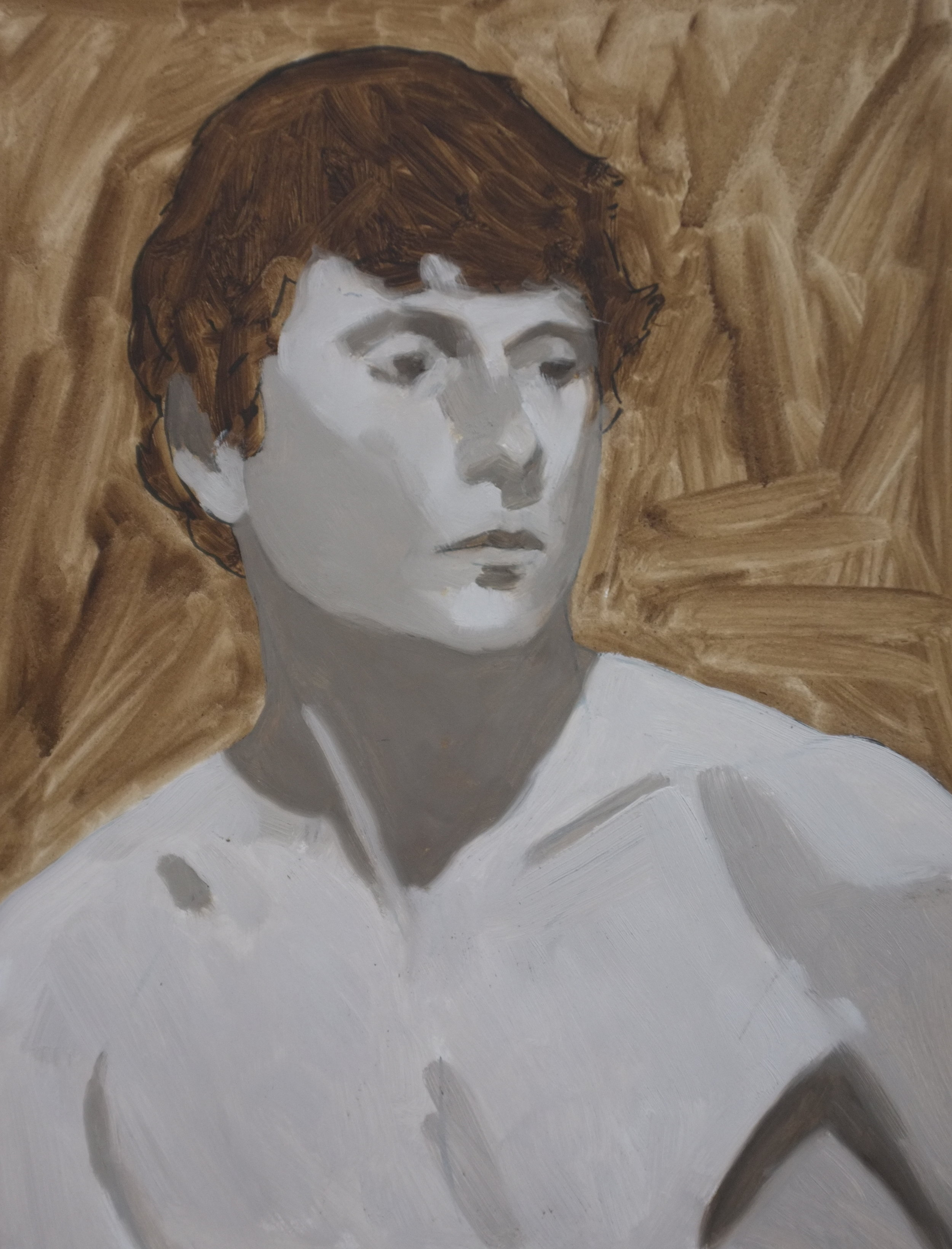A closed grisaille underpainting of raw umber and white.