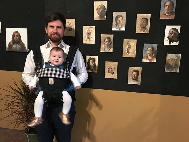 Here, Isla and I are standing by some recently painted portraits of mine. Isla was the main attraction, however.