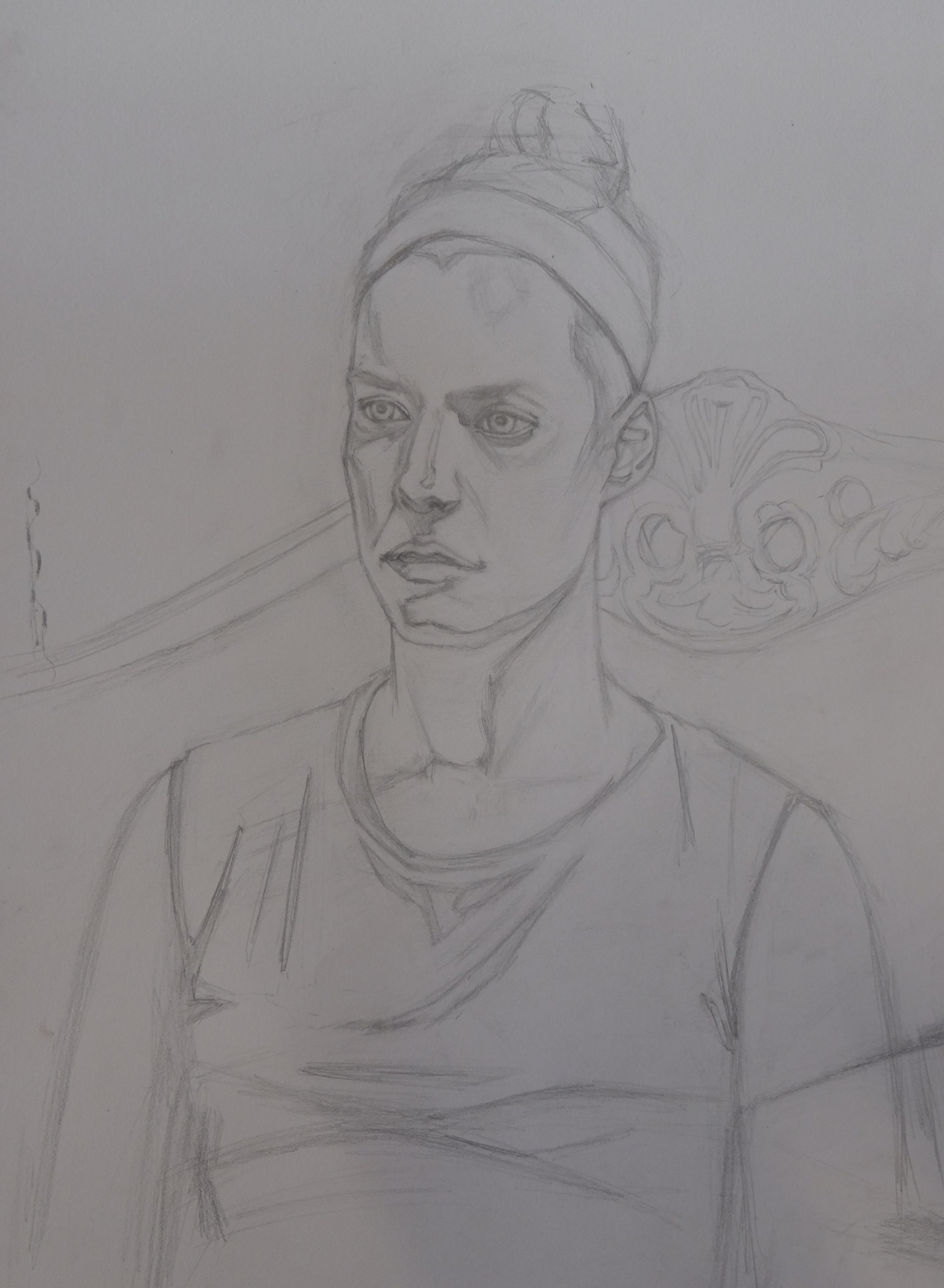 Achieving a likeness in a linear manner. This drawing could be called a  cartoon  and is used to transfer onto canvas or panel.