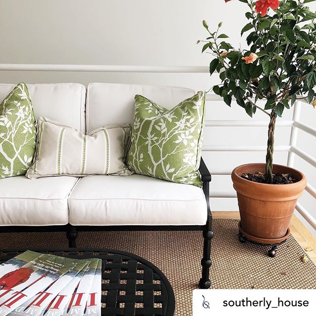 #clientshoutout love how these pillows turned out! Go check out the cool new store in #Middleburgva ....Posted @withrepost • @southerly_house Our @threecoinscast outdoor furniture is made of heavy cast aluminum which you can custom order in thirty one color options from traditional to bright lacquers. We've topped ours with custom @thibaut_1886 sunbrella throw pillows made locally by @myatelierva. We offer an extensive library of indoor/outdoor fabrics to choose from. Our doors are open till 5 PM today.🌿#southerlyhouse #middleburg #shoplocal #threecoinscast #thibaut #madeintheusa