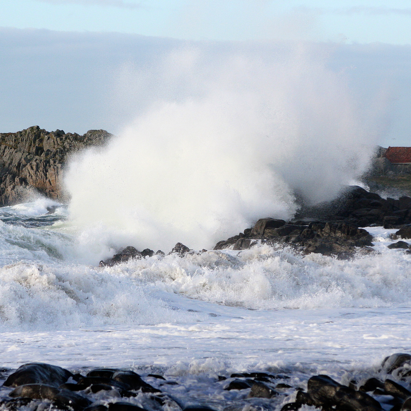 "The rough sea on the outside of Karmøy that forced marine traffic in to ""Nordvegen""."
