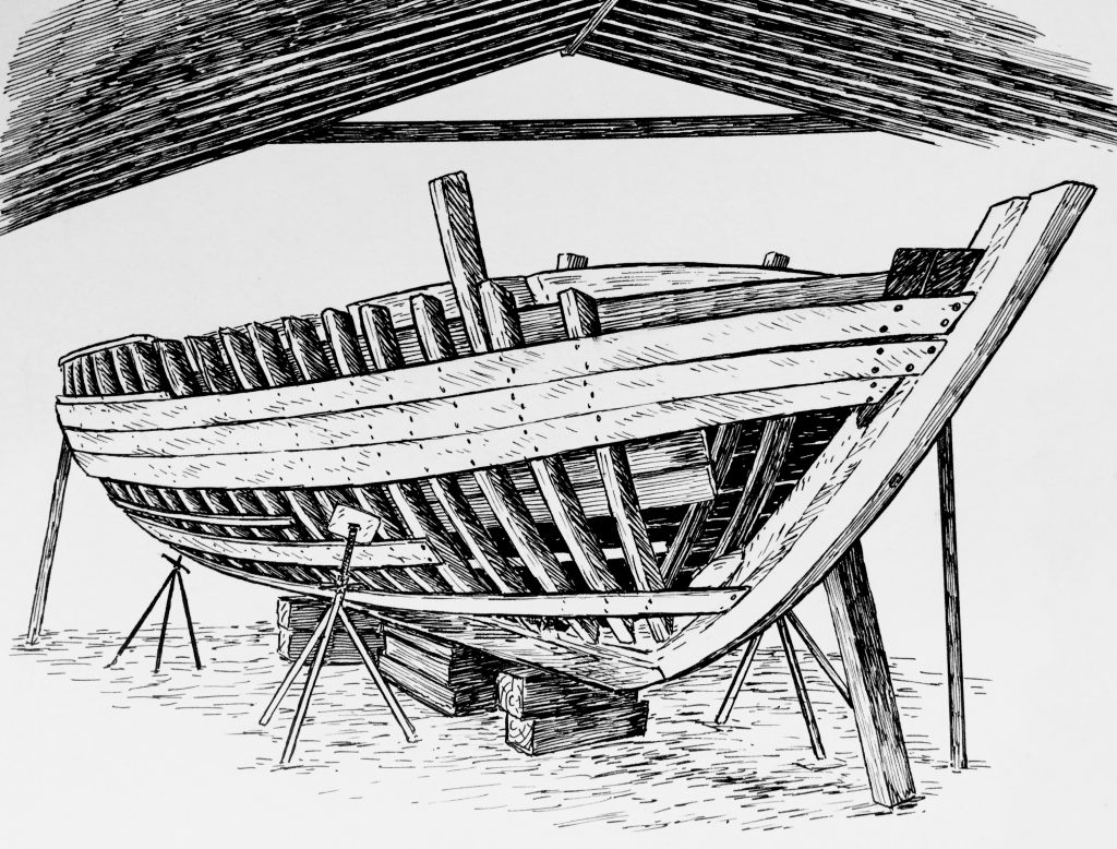 The Woody Guthrie, Pete Seeger's boat which is being restored by the Hudson River Maritime Museum next to which Draken is currently docked. Illustration: Karin Gafvelin