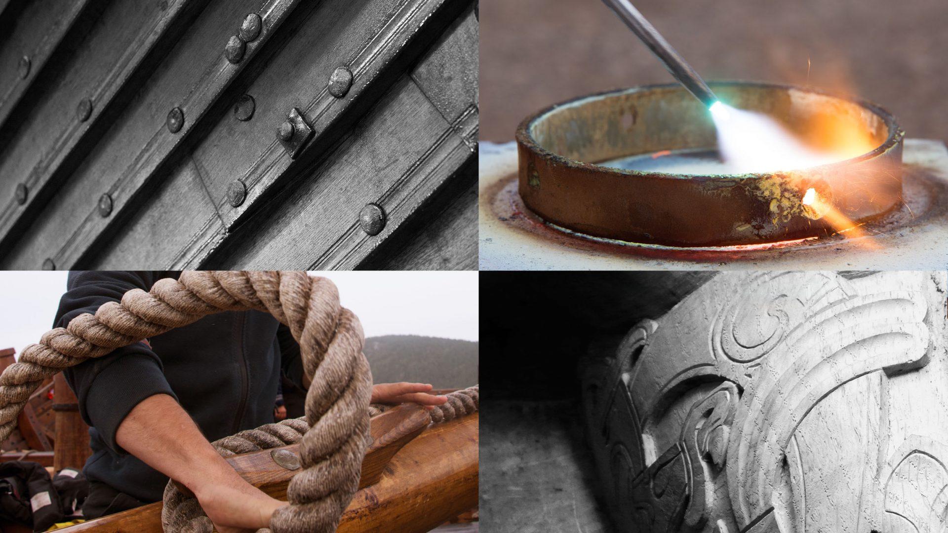 Fine craftsmanship built Draken Harald Hårfagre, with materials used throughout history. Oak, tar, hemp, iron and silk.