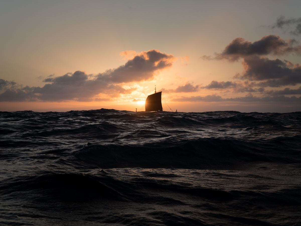 Draken sailing in the sunset, somewhere between Greenland and Newfoundland.