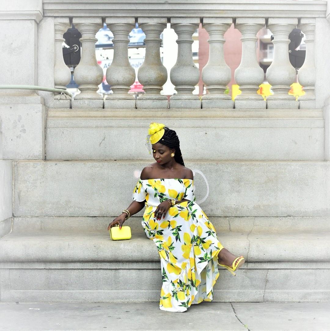 Lemon-Print-Maxi-Dress