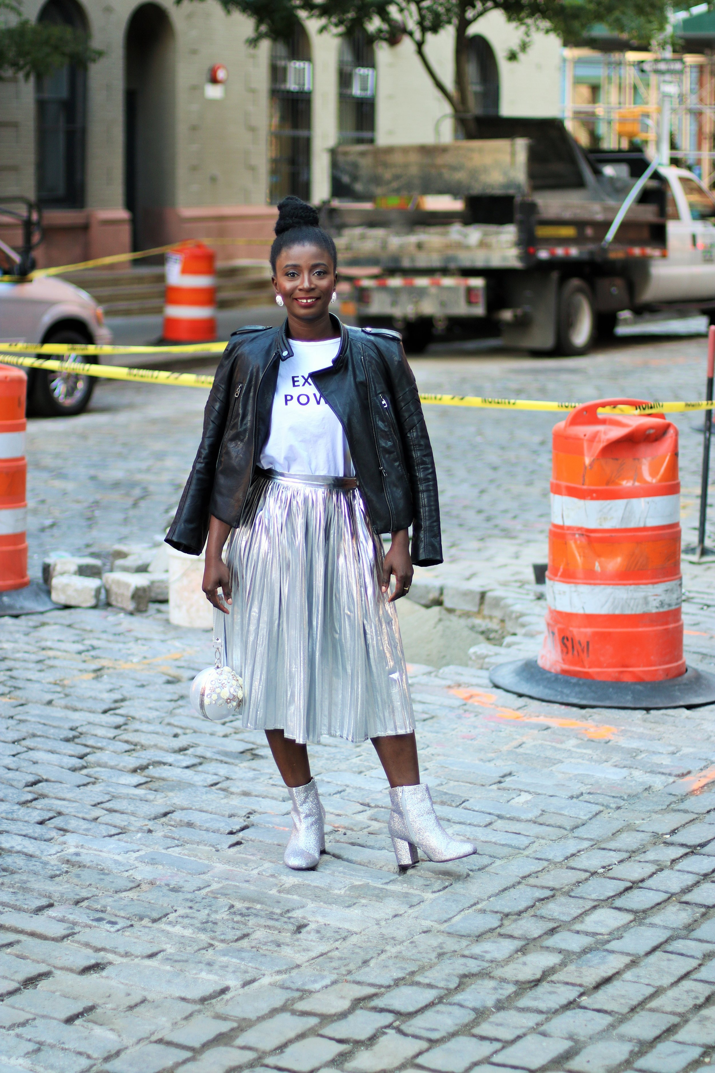 Pleated-Silver-Skirt-Outfit-Ideas
