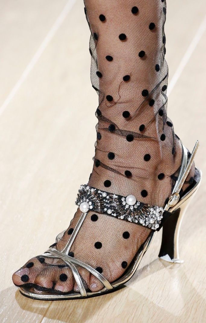 Polka Dots Socks from Erdem Fall 2018 Runway Show. Photographed by Rex Shutterstock