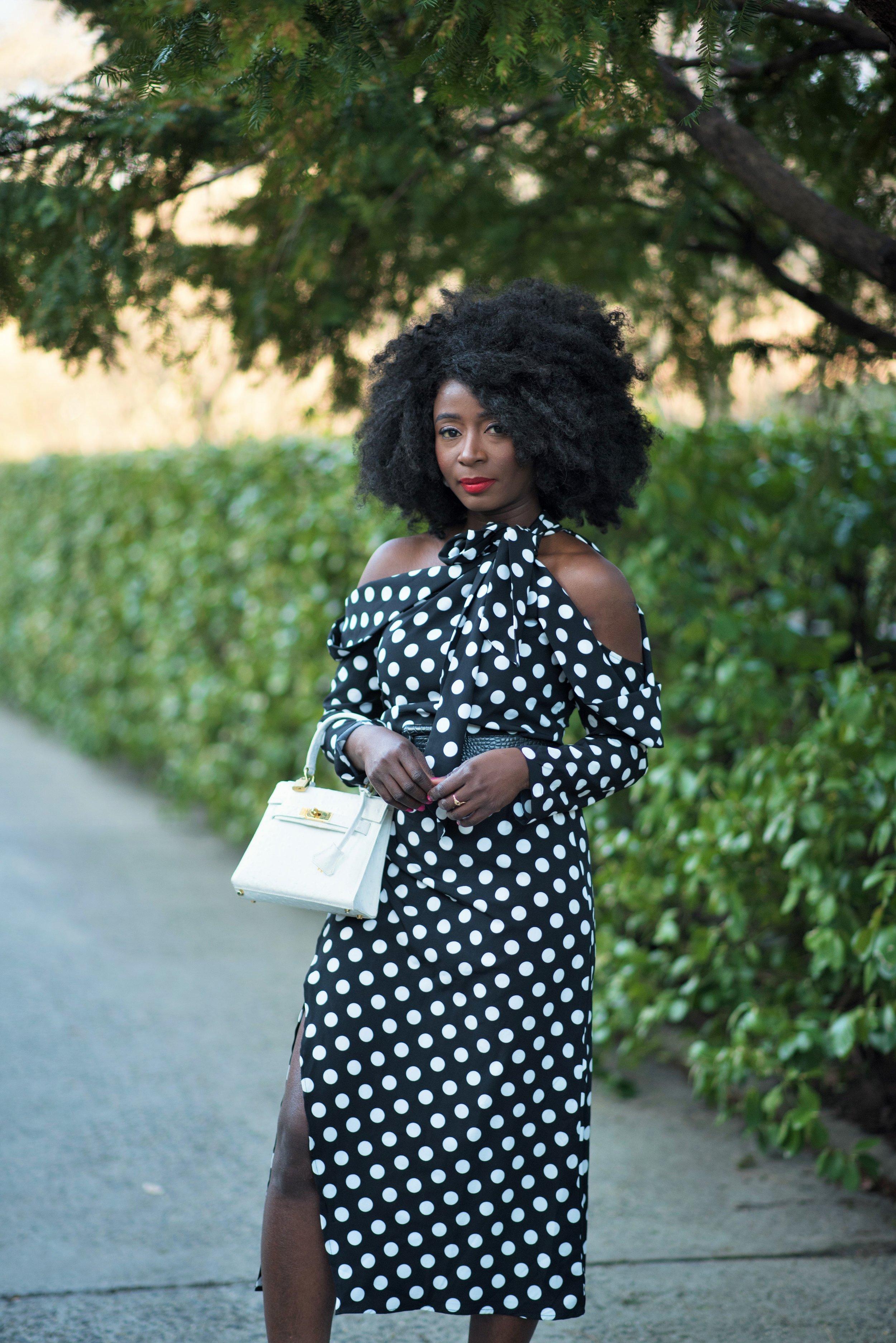 Off-The-Shoulder-Polka-Dots-Dress