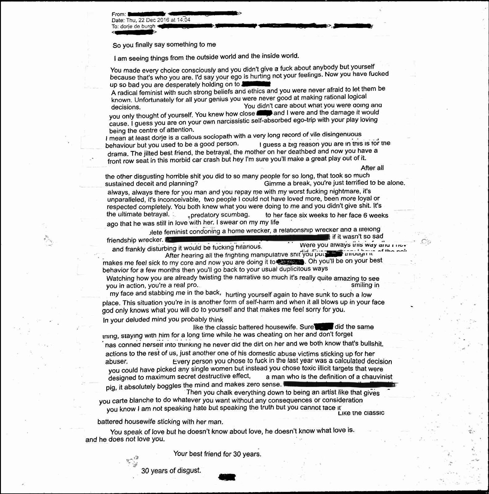 Emails from R to Me and DC (Composite), scanned composite email printout with redactions  (October 2018)