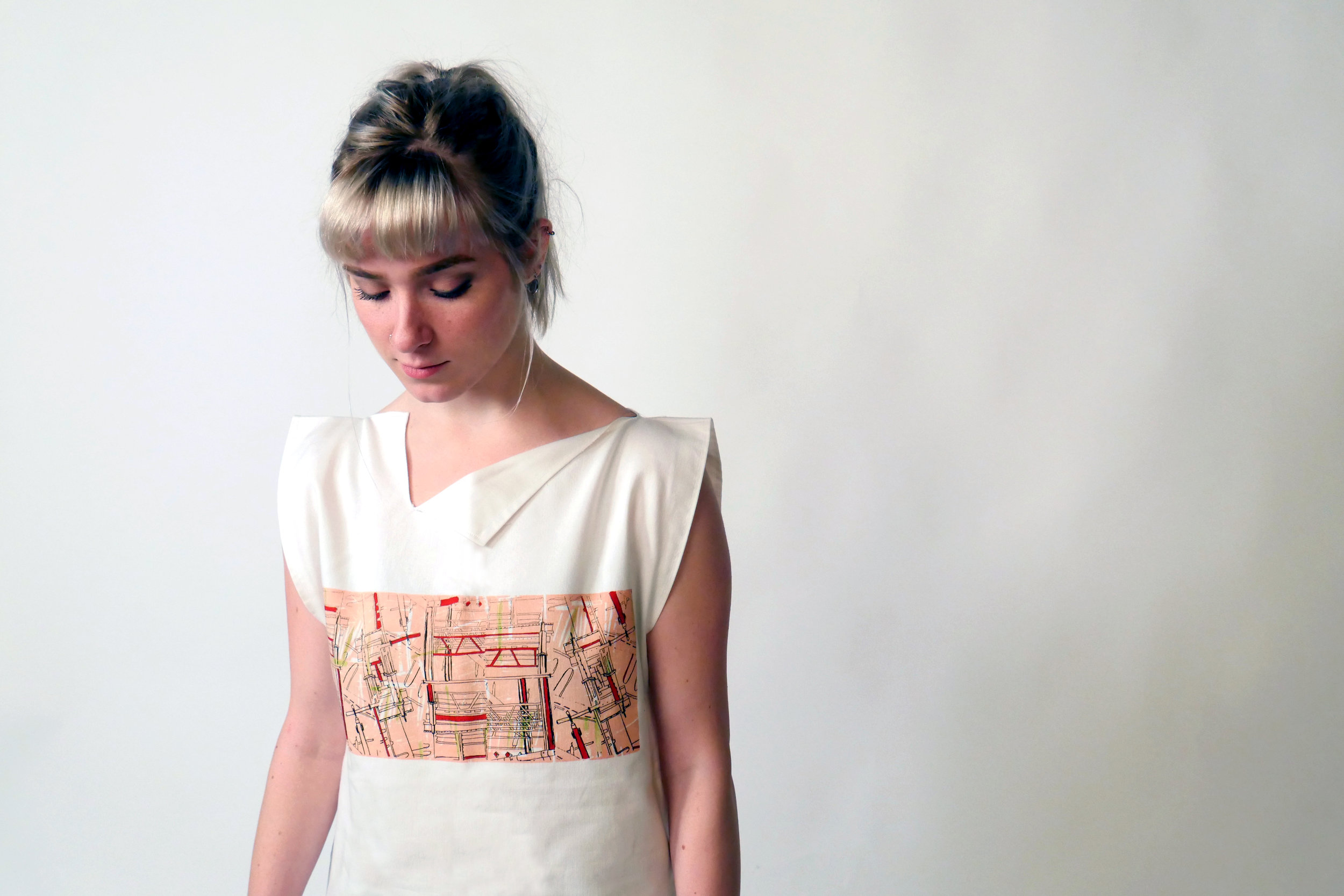 - Using zero-waste garment construction and design activism themes to create an awareness campaign, highlighting the issue of waste in the fast fashion industry.Controversial placement of print shows the 15% of fabric, which is usually discarded at the pre-consumer stage, as an invaluable section to the garment, creating a talking point and gaining consumer attention.