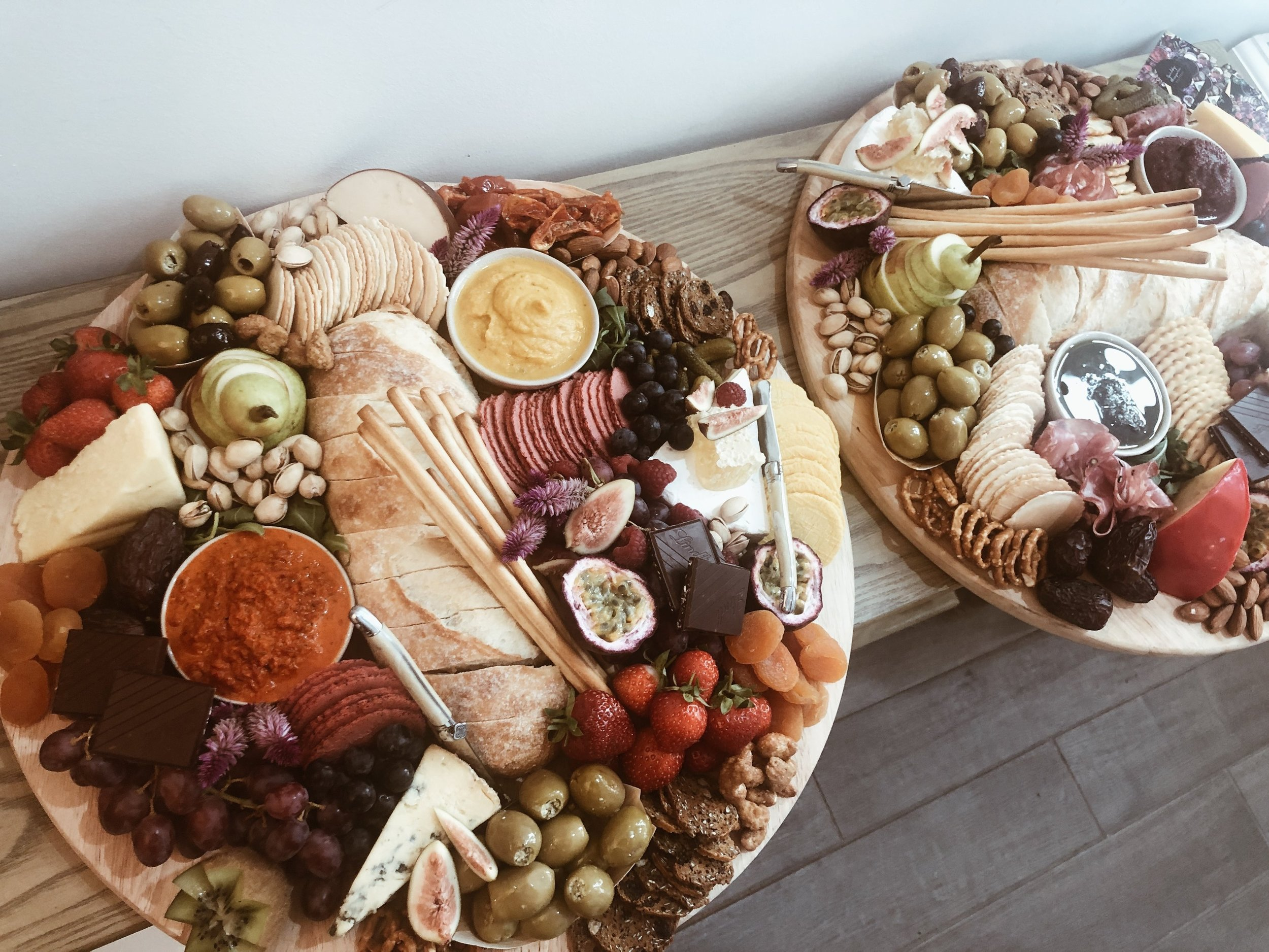 Ultimate Duo - Perfect for your next event the double duo platters are sure to make your event a hit!$310 - Grazing for 12 - 15 peopleSet on two 400mm round board and styled with bowls and cheese knives (hire items only).Comes with a serving pack of plates and serviettes. Delivery fee additional, alternatively can be collected from us (Northern end of Gold Coast). Board, bowls and cheese knives are to be returned to us washed within seven (7) days of your event.