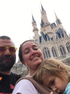 Looking sad outside of Cinderella's Castle. Thankfully we had our Ergo so I didn't have to carry this grumpy bear til nap time.