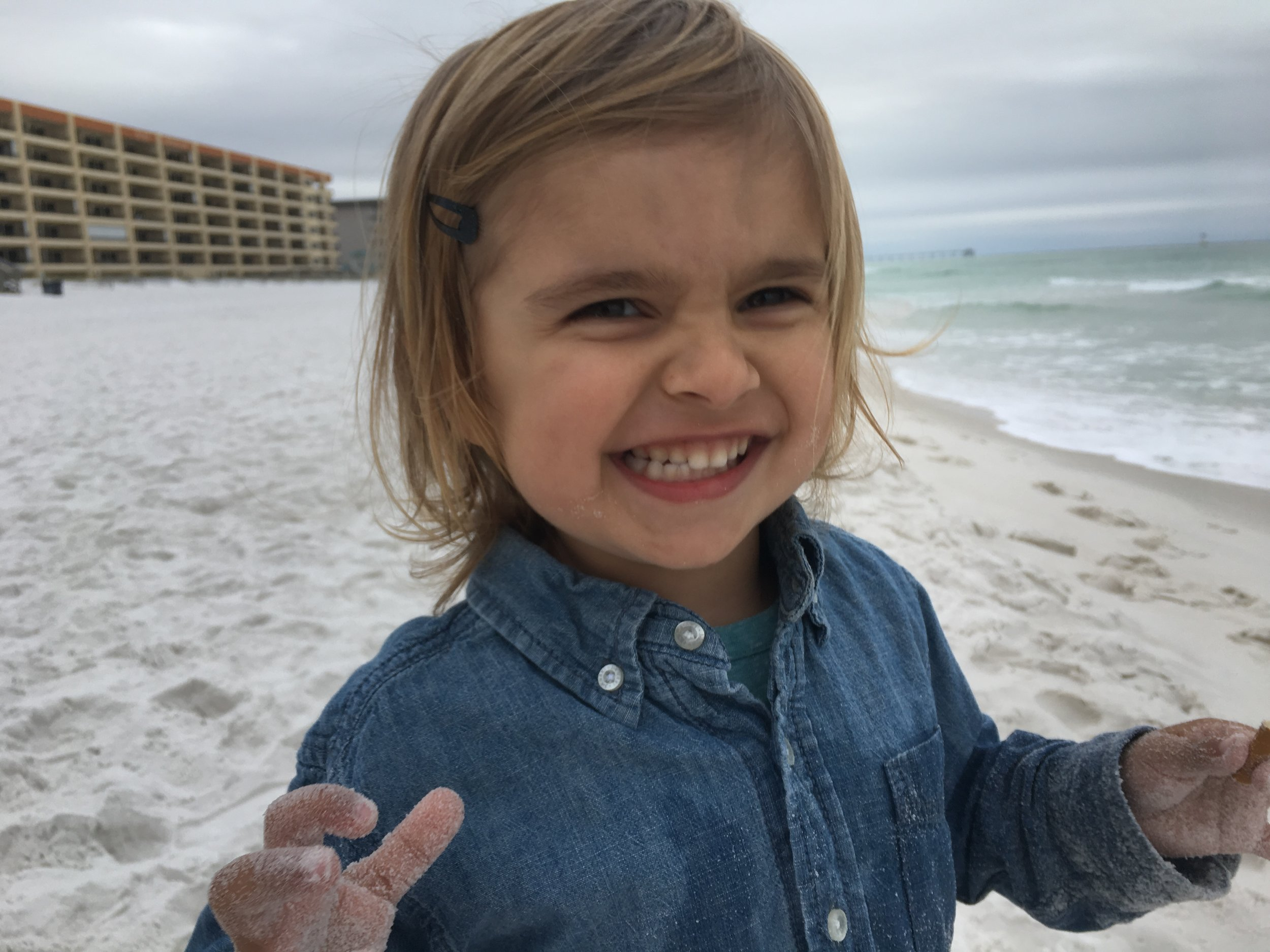 Nico's never stopped smiling during our surprise beach trip in March. He could not believe Daddy got to stay home from work.