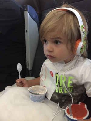 Nico listening intently to Just So Stories en route to Nonna's house last year.