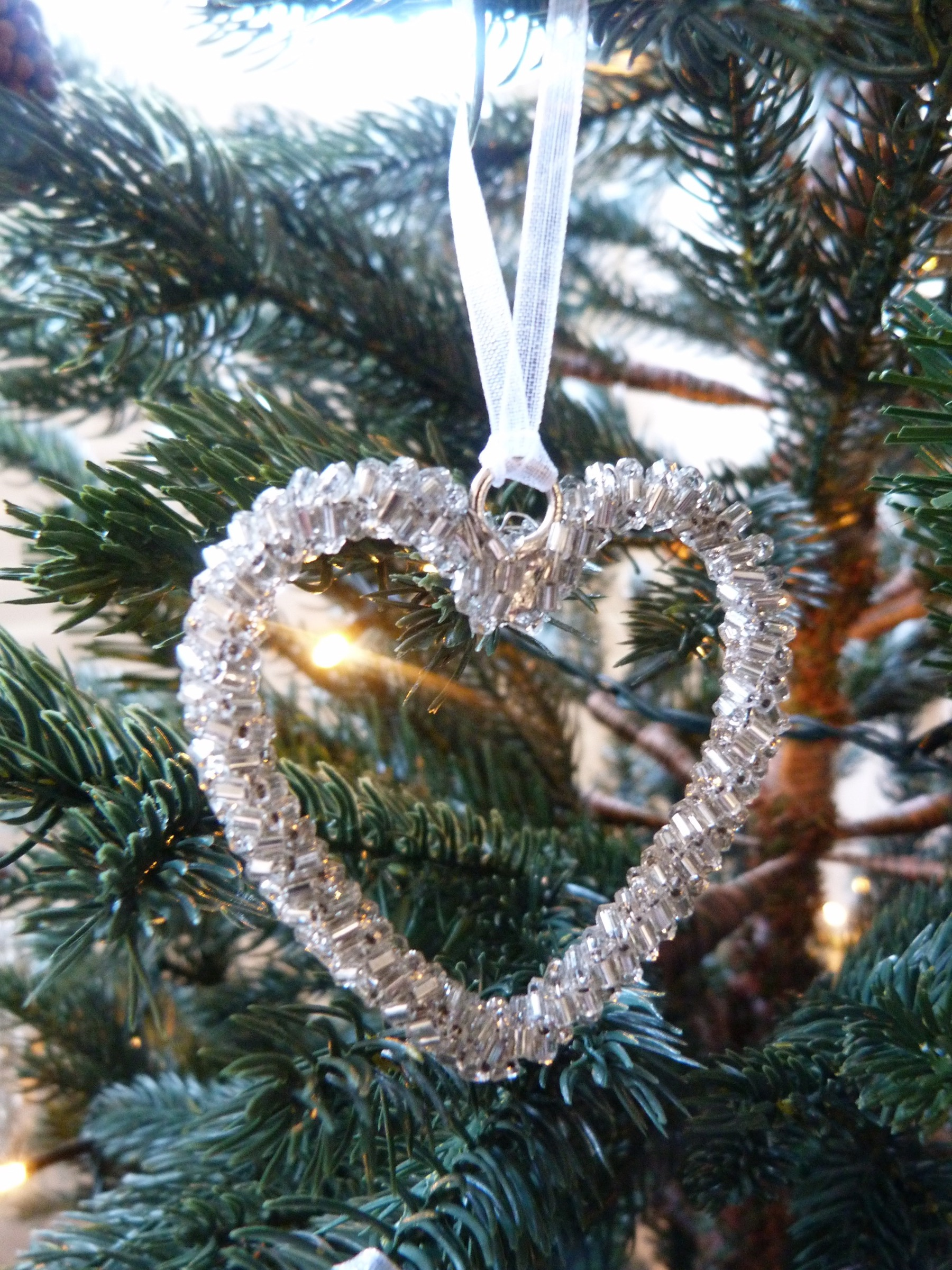 Mini Beaded Heart Tree Decorations - Set Of 5 - Silver