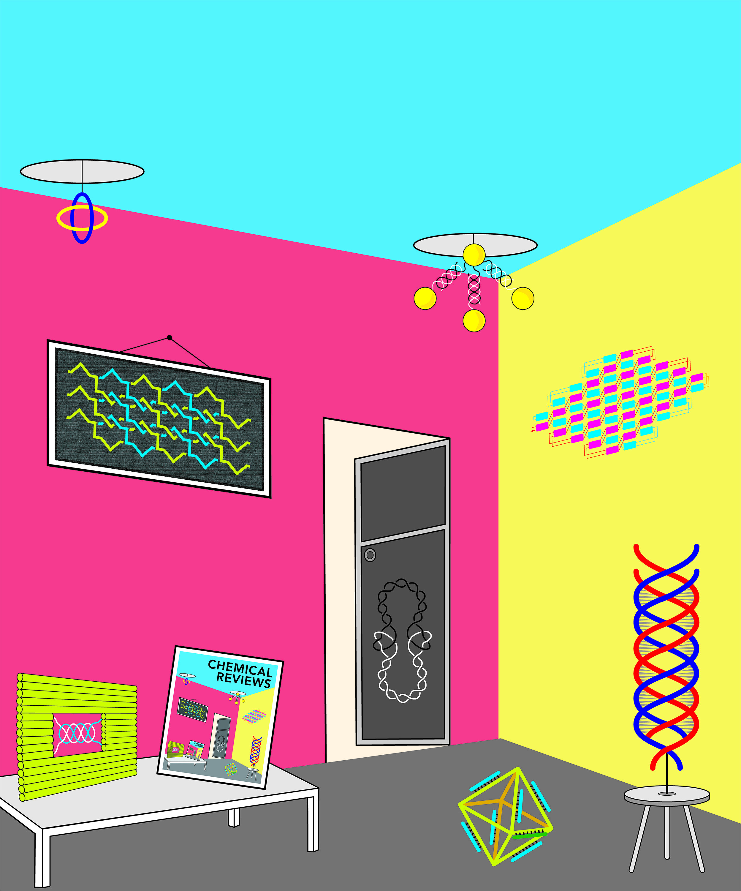 Paranemic crossover (PX) DNA.  A motif in DNA nanotechnology used to connect topologically closed molecules, to assemble a 3D object, and to create 2D DNA crystals. Cover art designed for the journal Chemical Reviews.