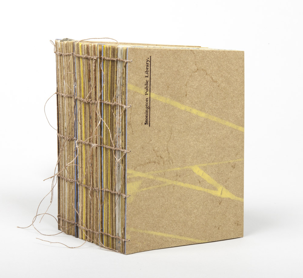 Stonington Public Library. - 2014.Three Artist Books with Boxes: xerox transfer & letterpress printing, book board & cloth, thread, encaustic wax, coffee sticks, milk paint.Ea. 4.66 x 5.75 x 2 inches