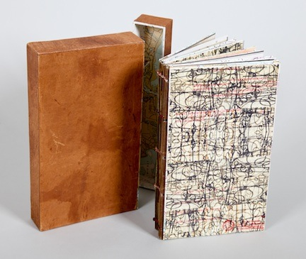 withdrawn - 2013.Artist Book with box: book board, salvaged maps & papers, xerox transfer & digital prints, wire, thread, possum skins.5 x 8.25 x 1 inches.