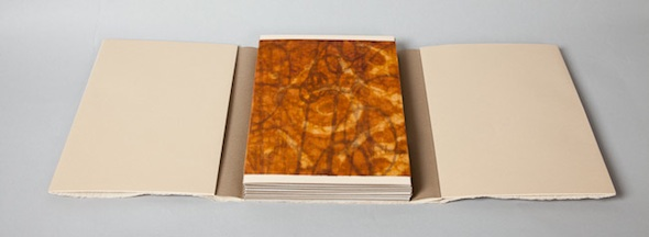 Tangled Dreams - 2012: edition of 6Artist Book with wrap: digital prints on Moab Entrada Natural 190 lb. rag paper, waxed & stained organza silk, assorted papers.8.25 x 8.13 x .33 inchesArtists: Brooke Holve & Elizabeth Sher