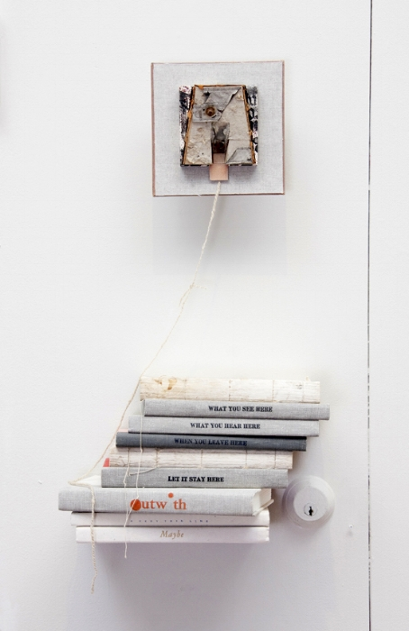 CUTS from speech: A - 2016A. Mixed Media: book board, letterpress on discarded book cloth, found debris, yarn, discardedbooks, 4 x 4 block.18 x 6.5 x 8.75 inches.