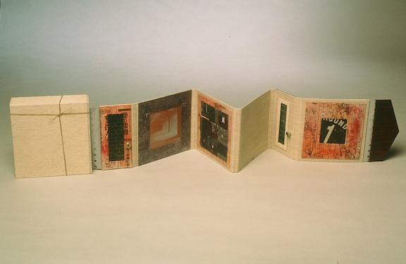 xxoxxo - 1999.Accordion Fold Book: book board, book cloth, found objects, paper.35.5 x 5.25 inches